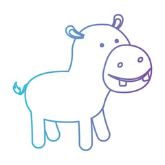 hippopotamus cartoon in degraded blue to purple color contour vector illustration