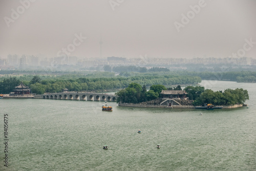 Foto op Aluminium Beijing Lake island with pedestrian bridge, Beijing, China