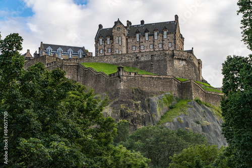 Plakat Sceniczny widok Edynburg kasztel na kasztel skale, Edynburg, Szkocja