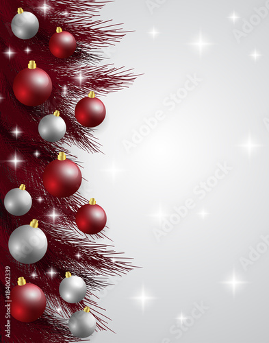 merry christmasnew year card and glitter decoration red and white background with christmas