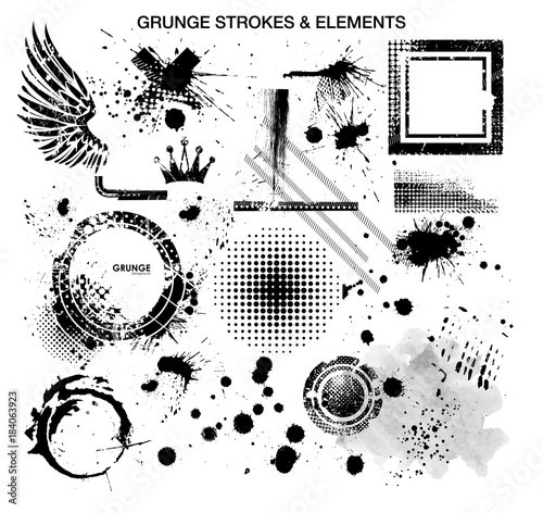 Grunge and strokes elements. Vector template with elements in grunge style Wall mural