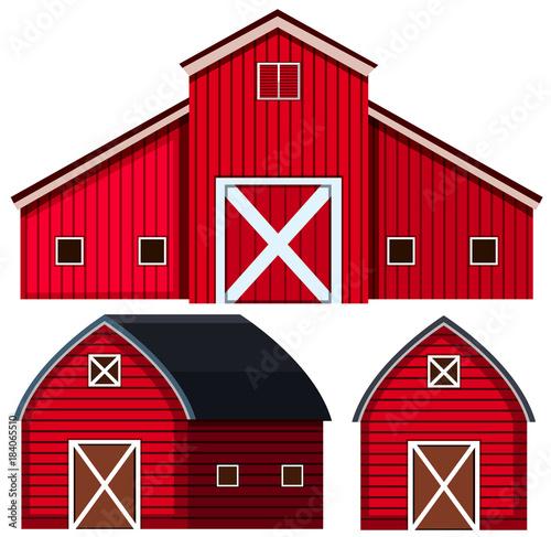 Red barns in three designs Fototapeta