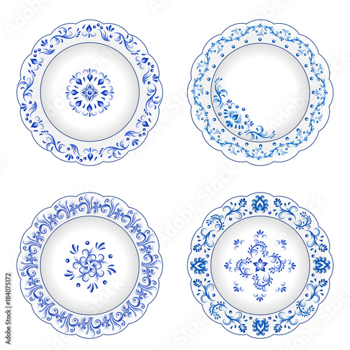 Set of decorative porcelain plates ornate  in traditional Russian style Gzhel Wallpaper Mural