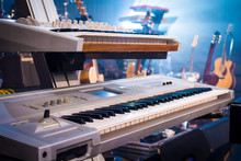 Professional Keyboards On Guitars And Light Sunset