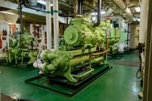Inside Engine Room On Big Ship