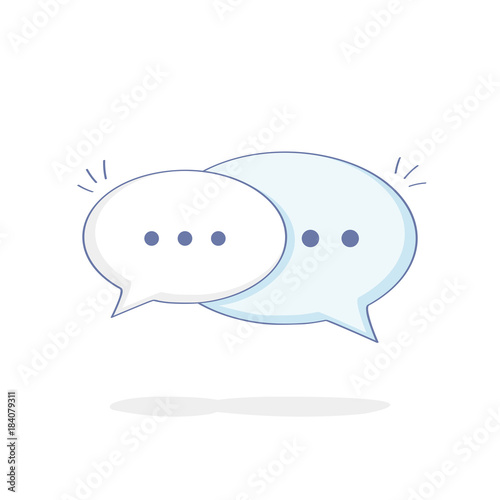 Cute Cartoon Chat Speech Bubbles Flat Outline Vector Illustration Icon Of Communication Contact Talking Messaging Chat Or Dialogue Buy This Stock Vector And Explore Similar Vectors At Adobe Stock Adobe Stock