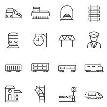 Train And Railways Icon Set. I...