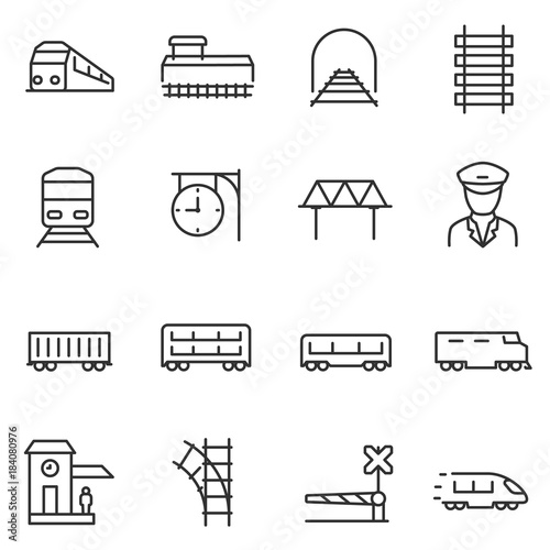 train and railways icon set. intercity, international, freight trains, linear icons. Line with editable stroke Wall mural