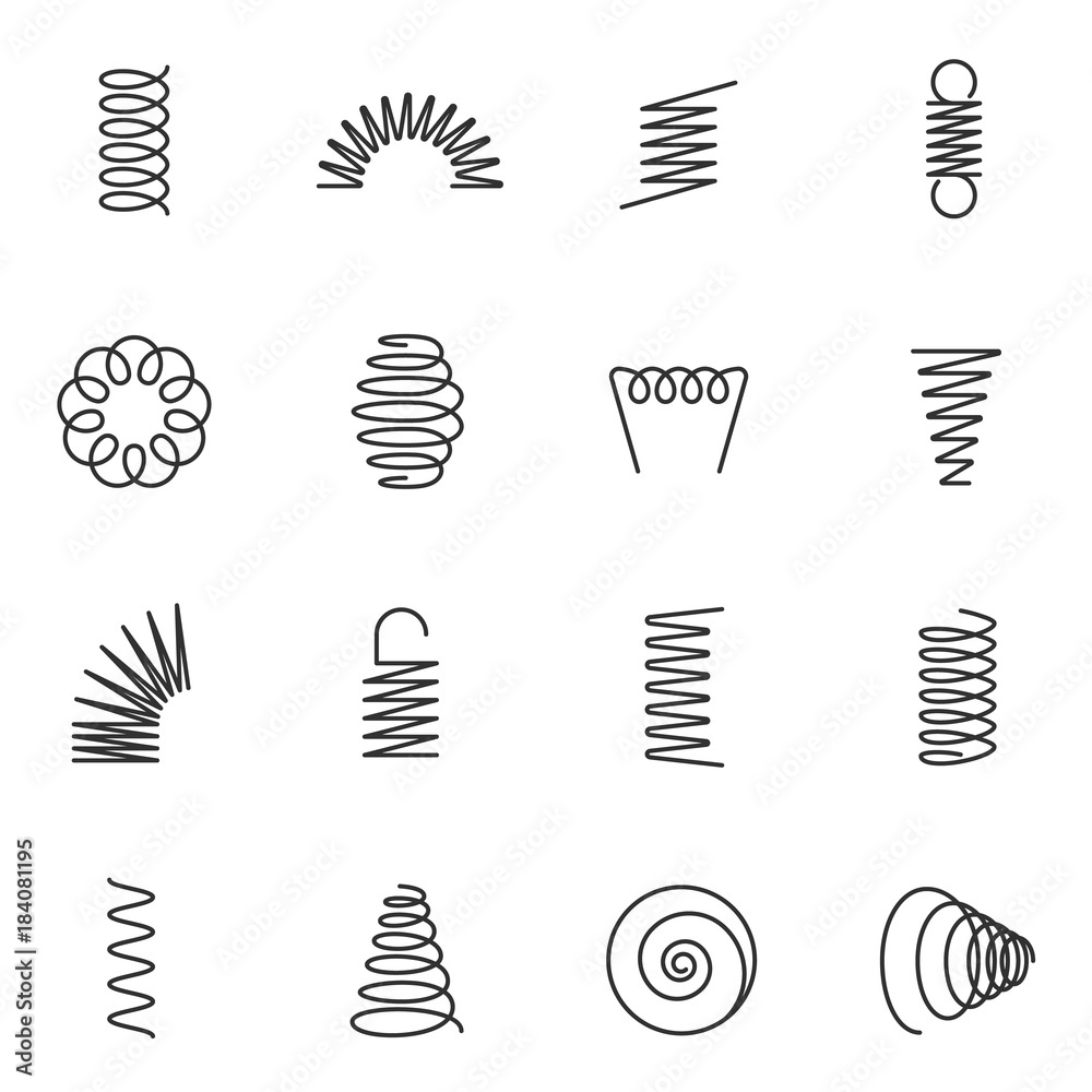 Fototapeta Metal springs icons set. silhouette of spring linear design. Line with Editable stroke