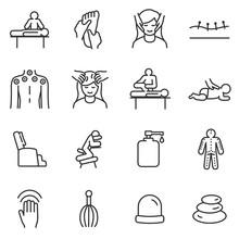 Massage Linear Icons Set. Rela...
