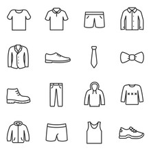 Clothing For Men Icons Set. Co...