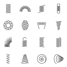 Metal Springs Icons Set. Silho...