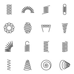 Metal springs icons set. silhouette of spring linear design. Line with Editable stroke