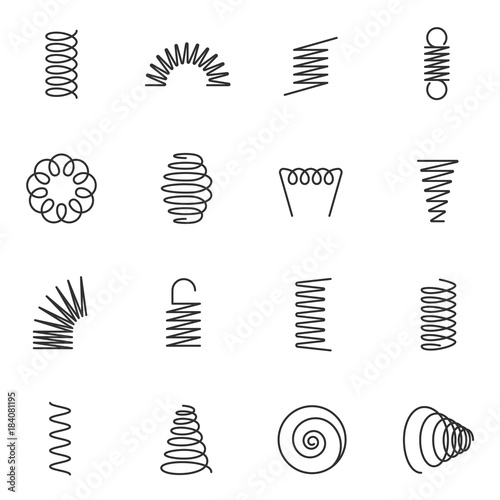 Obraz Metal springs icons set. silhouette of spring linear design. Line with Editable stroke - fototapety do salonu