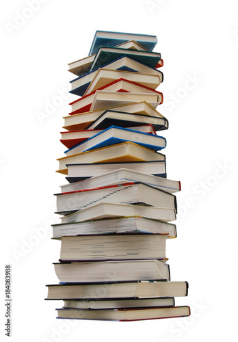Plakát The heavy pile of books isolated white background