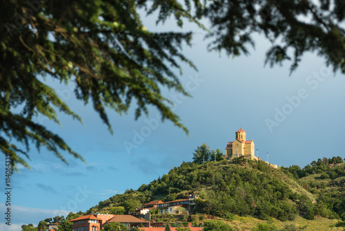 Tabor Monastery of the Transfiguration through pine branches in Tbilisi, Georgia Tapéta, Fotótapéta