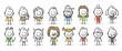 Strichfiguren / Strichmännchen: Menschen, Multi Kulti. (Nr. 158)
