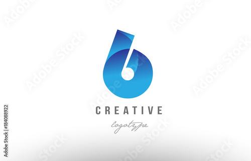 6 six blue gradient number numeral digit logo icon design Tableau sur Toile