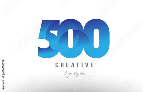Fotografia  500 blue gradient number numeral digit logo icon design