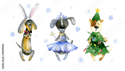 Watercolor illustration. Set of cute cartoon dogs in christmas costumes. Costume of a Watercolor  sc 1 st  Adobe Stock & Watercolor illustration. Set of cute cartoon dogs in christmas ...