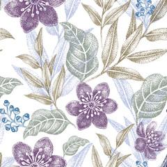 Panel Szklany Podświetlane Inspiracje na wiosnę Seamless pattern with flowers.