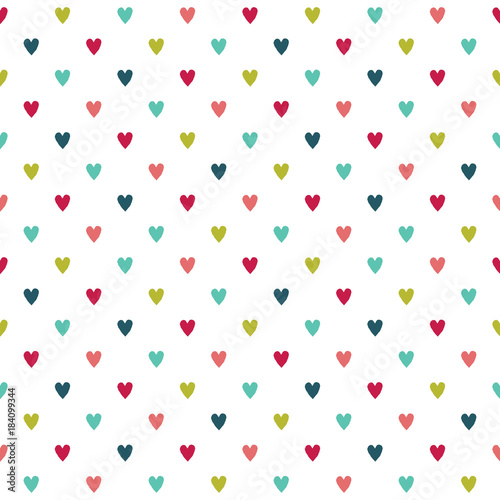 cute seamless vector holiday background with colorful hearts in red green white and mint - Mint Christmas Cards