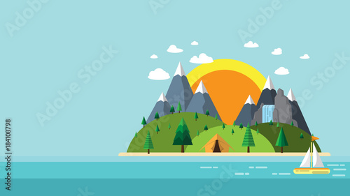 Printed kitchen splashbacks Light blue Nature landscape flat design.Summer nature travel with island,mountains,waterfall and tent.Vector illustration.