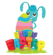 "Vector cartoon image of a light blue Easter bunny standing behind colorful letters ""Happy Easter"" and Easter eggs, hugging a big colorful Easter egg on a light background. Easter. Vector illustration."