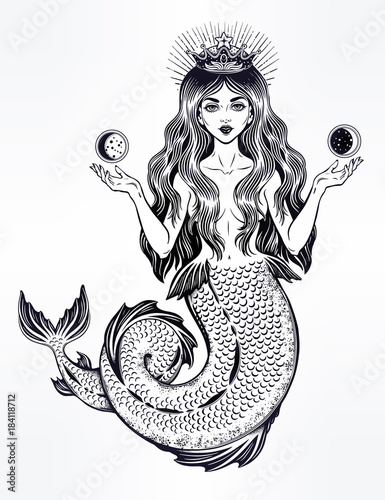 Fotografie, Obraz  Beautiful magic mermaid queen with crown and moon.