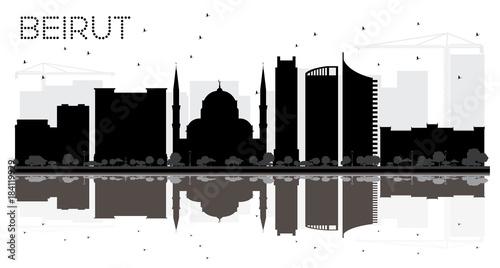 Beirut Lebanon City skyline black and white silhouette. Canvas Print