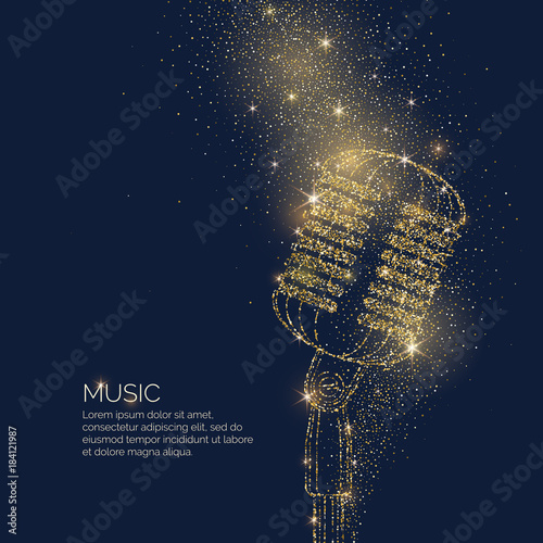 Bright music poster with microphone of glitter place for text Fototapeta