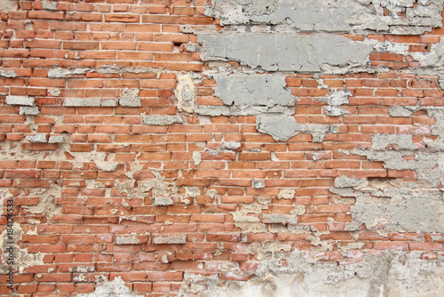 Old Wall Of Red Bricks And White Brayed Ed Paint Terracotta