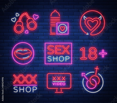 Sex Shop Set Of Logos Signs Symbols In Neon Style Collection Of