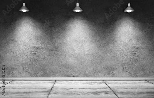 Interior Room With Dirty Concrete Cement Wall Floor And White