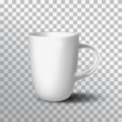 White cup on transparent background. Vector realistic cup template