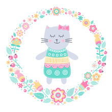 Cute Cat. Vector Card With Han...