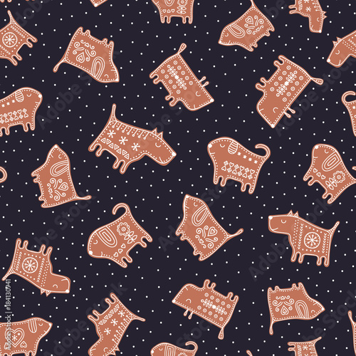 vector seamless pattern with gingerbread dogs cute new year background with cookie puppy illustration