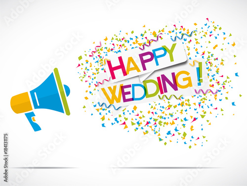 megaphone : happy wedding Canvas-taulu