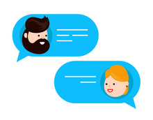 Man Chatting With Woman. Vector Flat