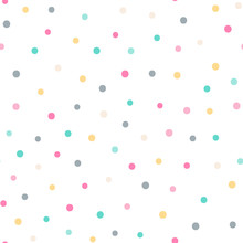 Vector Seamless Pattern With Color Dots. Cute Background For Baby. Pink, Yellow, Green, Gray, Beige Elements On White Backdrop.
