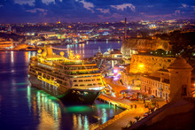 Aerial View Of Cruise Ship In Grand Harbour In Night, Valletta, Malta