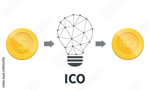 Fotografía  ICO. Initial coin offering concept. Token sale
