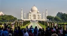 AGRA, INDIA, OCTOBER 15, 2017 - Taj Mahal Mausoleum In Agra, Uttar Pradesh State, Northern India, UNESCO World Heritage Site
