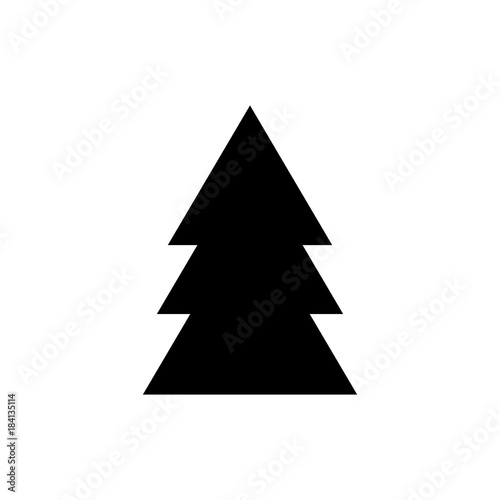 Silhouette Icon Of Black Christmas Tree Simple Geometric Vector
