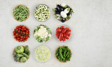 Food Top View Vegetables Isolated On Marble Kitchen Worktop, Web Banner Copy Space Template