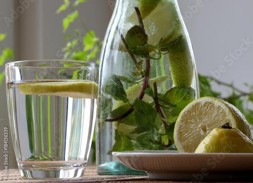Zitronenwasser in Karaffe mit Glas mit Zitronenscheibe und Minze auf Tisch Canvas Print