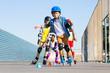 Leinwanddruck Bild - Kids learning to avoid cones at slalom course