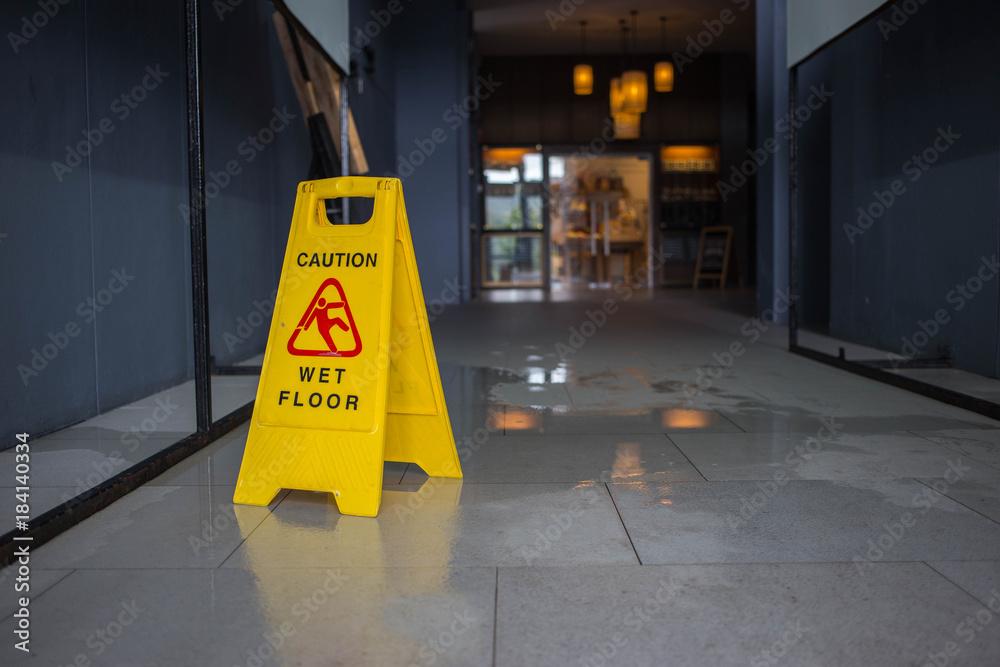 Fototapety, obrazy: Wet floor caution sign.