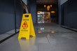 Leinwanddruck Bild - Wet floor caution sign.