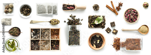 Valokuva Various kinds of tea, spoons and rustic dishware, brewed green tea, cinnamon